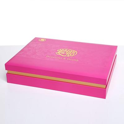 Cosmetics packing carton with red ribbon and UV